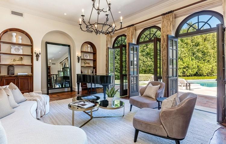 Living room of ultra-luxurious villa on N. Roxbury Drive